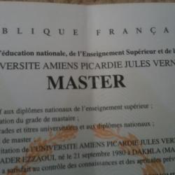 حصول مدير المركز على درجة الماجستير من فرنسا