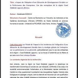Abstract Research Thesis PhD in Wirtschaftswissenschaften und Management von der französischen Universität Picardie für den Direktor des Zentrums
